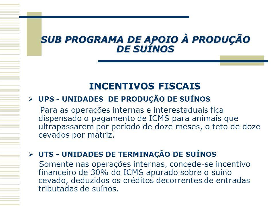 SUB PROGRAMA DE APOIO À PISCICULTURA INCENTIVOS FISCAIS  Alevinos - isenção para as operações internas, e redução de 60% para as operações interestaduais.