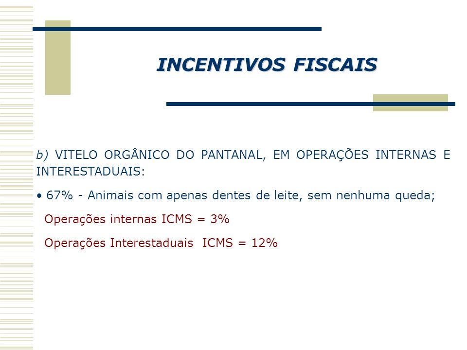 INCENTIVOS FISCAIS b) VITELO ORGÂNICO DO PANTANAL, EM OPERAÇÕES INTERNAS E INTERESTADUAIS: 67% - Animais com apenas dentes de leite, sem nenhuma queda; Operações internas ICMS = 3% Operações Interestaduais ICMS = 12%