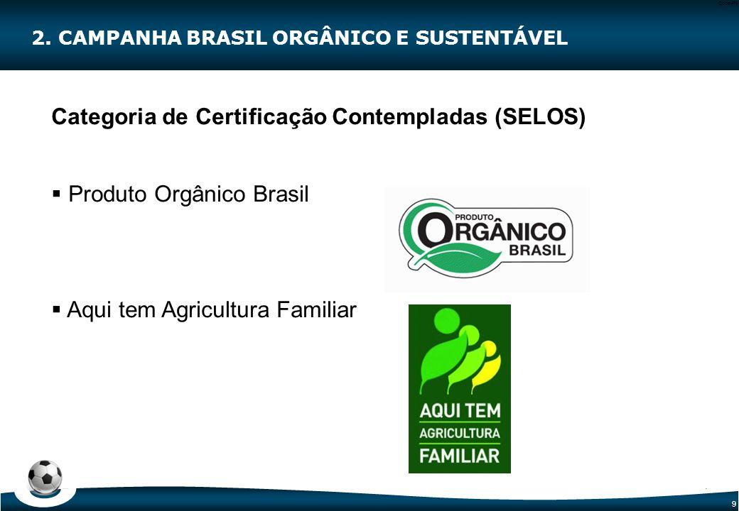 9 Code-P9 Categoria de Certificação Contempladas (SELOS)  Produto Orgânico Brasil  Aqui tem Agricultura Familiar 2. CAMPANHA BRASIL ORGÂNICO E SUSTE