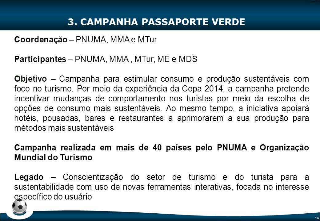 14 Code-P14 3. CAMPANHA PASSAPORTE VERDE Coordenação – PNUMA, MMA e MTur Participantes – PNUMA, MMA, MTur, ME e MDS Objetivo – Campanha para estimular