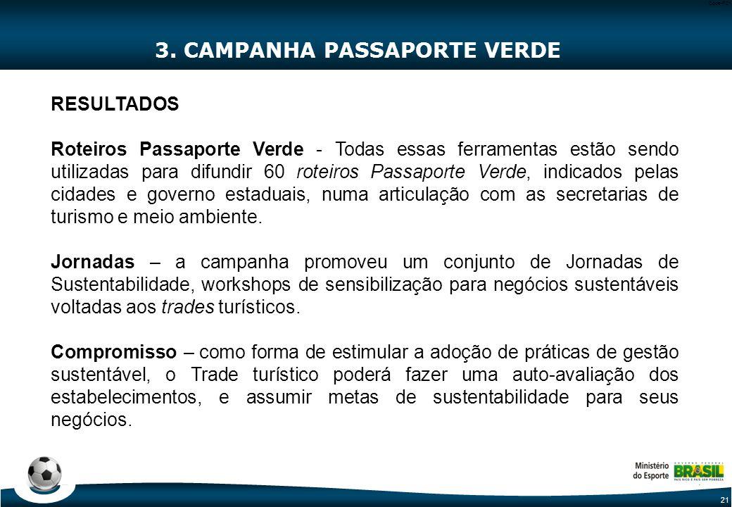 21 Code-P21 3. CAMPANHA PASSAPORTE VERDE RESULTADOS Roteiros Passaporte Verde - Todas essas ferramentas estão sendo utilizadas para difundir 60 roteir