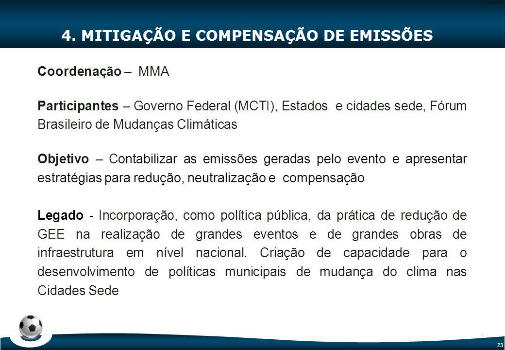 23 Code-P23 4. MITIGAÇÃO E COMPENSAÇÃO DE EMISSÕES Coordenação – MMA Participantes – Governo Federal (MCTI), Estados e cidades sede, Fórum Brasileiro