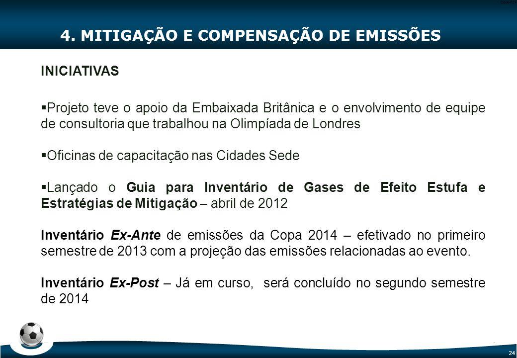 24 Code-P24 4. MITIGAÇÃO E COMPENSAÇÃO DE EMISSÕES INICIATIVAS  Projeto teve o apoio da Embaixada Britânica e o envolvimento de equipe de consultoria