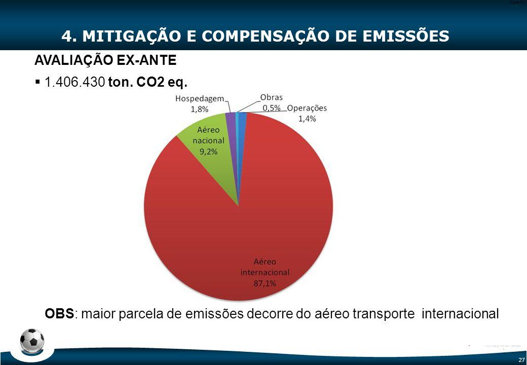 27 Code-P27 4. MITIGAÇÃO E COMPENSAÇÃO DE EMISSÕES AVALIAÇÃO EX-ANTE  1.406.430 ton. CO2 eq. OBS: maior parcela de emissões decorre do aéreo transpor