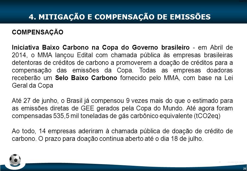 28 Code-P28 4. MITIGAÇÃO E COMPENSAÇÃO DE EMISSÕES COMPENSAÇÃO Iniciativa Baixo Carbono na Copa do Governo brasileiro - em Abril de 2014, o MMA lançou