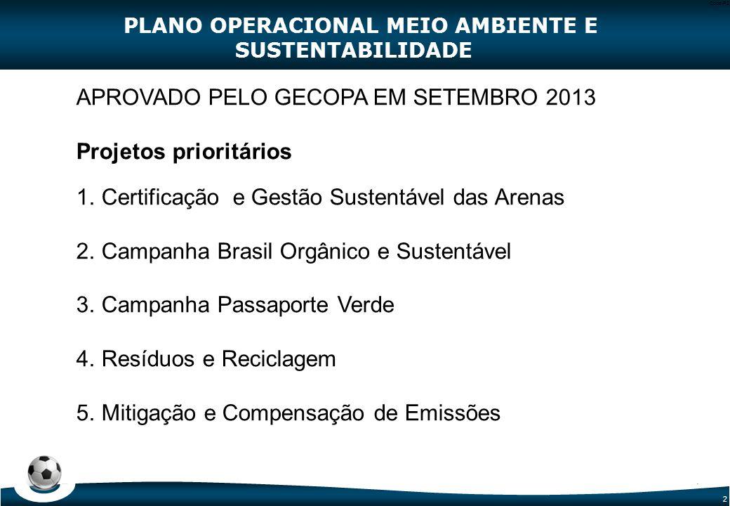 2 Code-P2 PLANO OPERACIONAL MEIO AMBIENTE E SUSTENTABILIDADE APROVADO PELO GECOPA EM SETEMBRO 2013 Projetos prioritários 1. Certificação e Gestão Sust