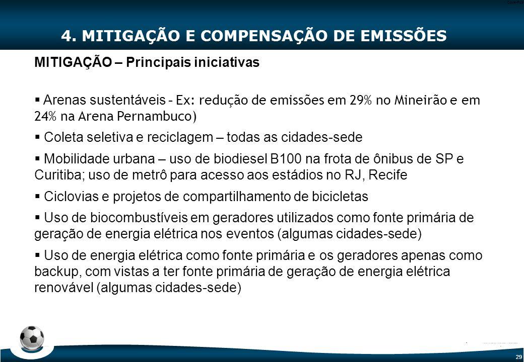 29 Code-P29 4. MITIGAÇÃO E COMPENSAÇÃO DE EMISSÕES MITIGAÇÃO – Principais iniciativas  Arenas sustentáveis - Ex: redução de emissões em 29% no Mineir