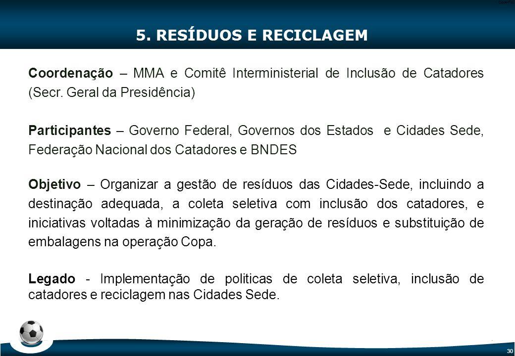 30 Code-P30 5. RESÍDUOS E RECICLAGEM Coordenação – MMA e Comitê Interministerial de Inclusão de Catadores (Secr. Geral da Presidência) Participantes –