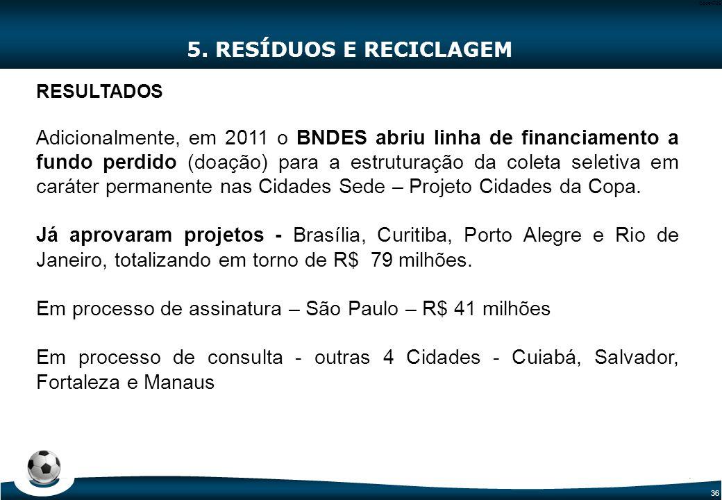 36 Code-P36 5. RESÍDUOS E RECICLAGEM RESULTADOS Adicionalmente, em 2011 o BNDES abriu linha de financiamento a fundo perdido (doação) para a estrutura