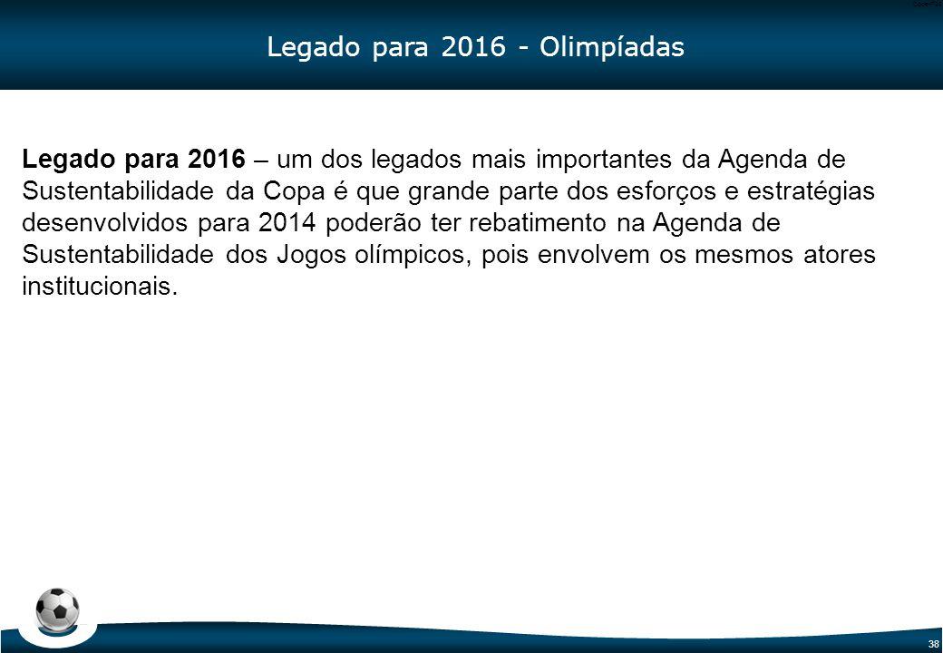 38 Code-P38 Legado para 2016 – um dos legados mais importantes da Agenda de Sustentabilidade da Copa é que grande parte dos esforços e estratégias des