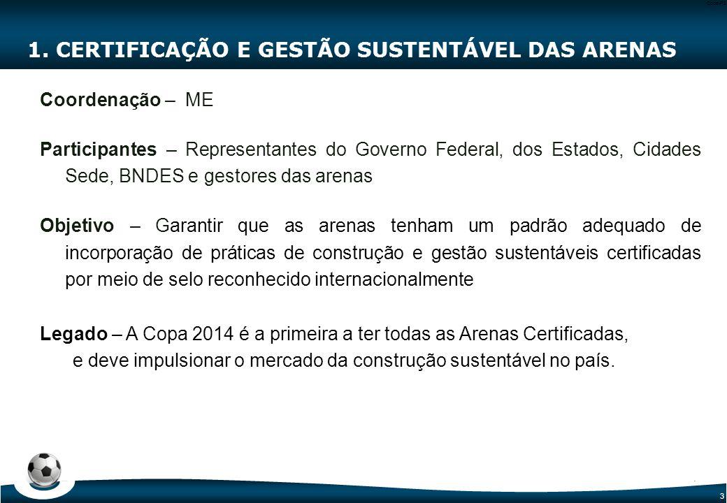 3 Code-P3 1. CERTIFICAÇÃO E GESTÃO SUSTENTÁVEL DAS ARENAS Coordenação – ME Participantes – Representantes do Governo Federal, dos Estados, Cidades Sed
