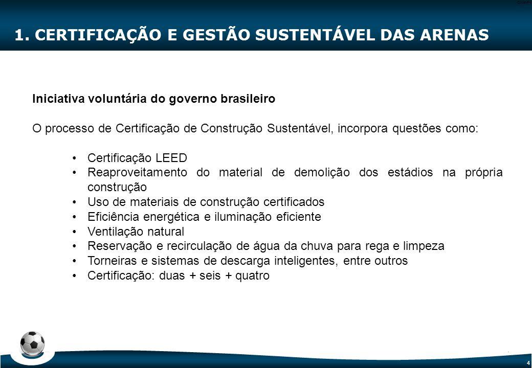4 Code-P4 1. CERTIFICAÇÃO E GESTÃO SUSTENTÁVEL DAS ARENAS Iniciativa voluntária do governo brasileiro O processo de Certificação de Construção Sustent