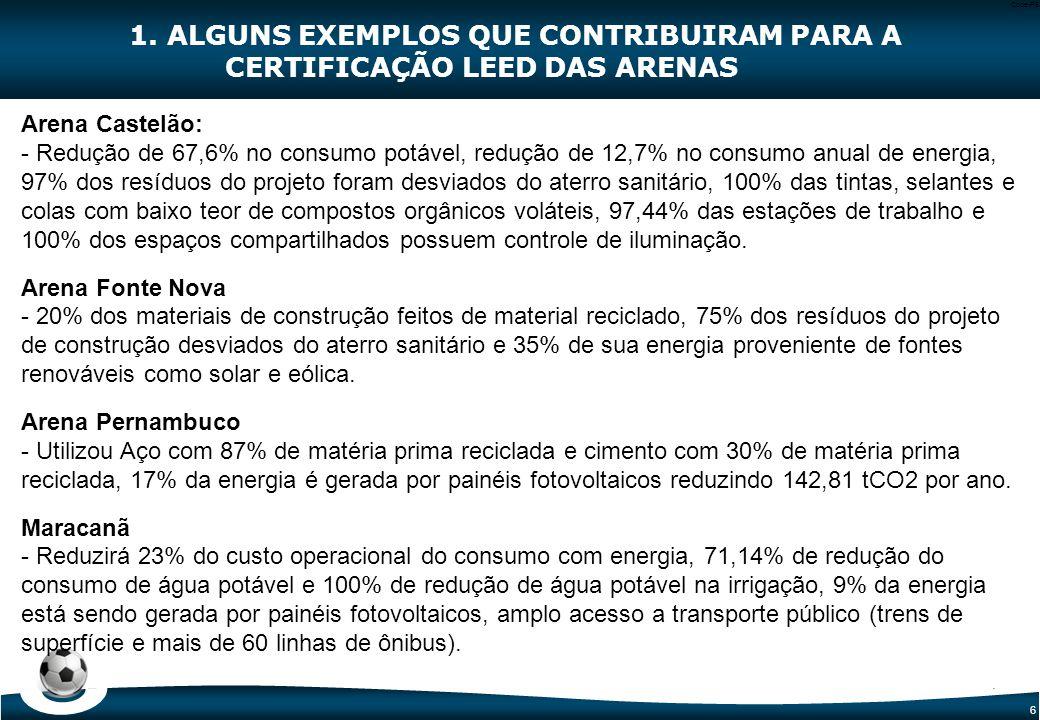 6 Code-P6 Arena Castelão: - Redução de 67,6% no consumo potável, redução de 12,7% no consumo anual de energia, 97% dos resíduos do projeto foram desvi