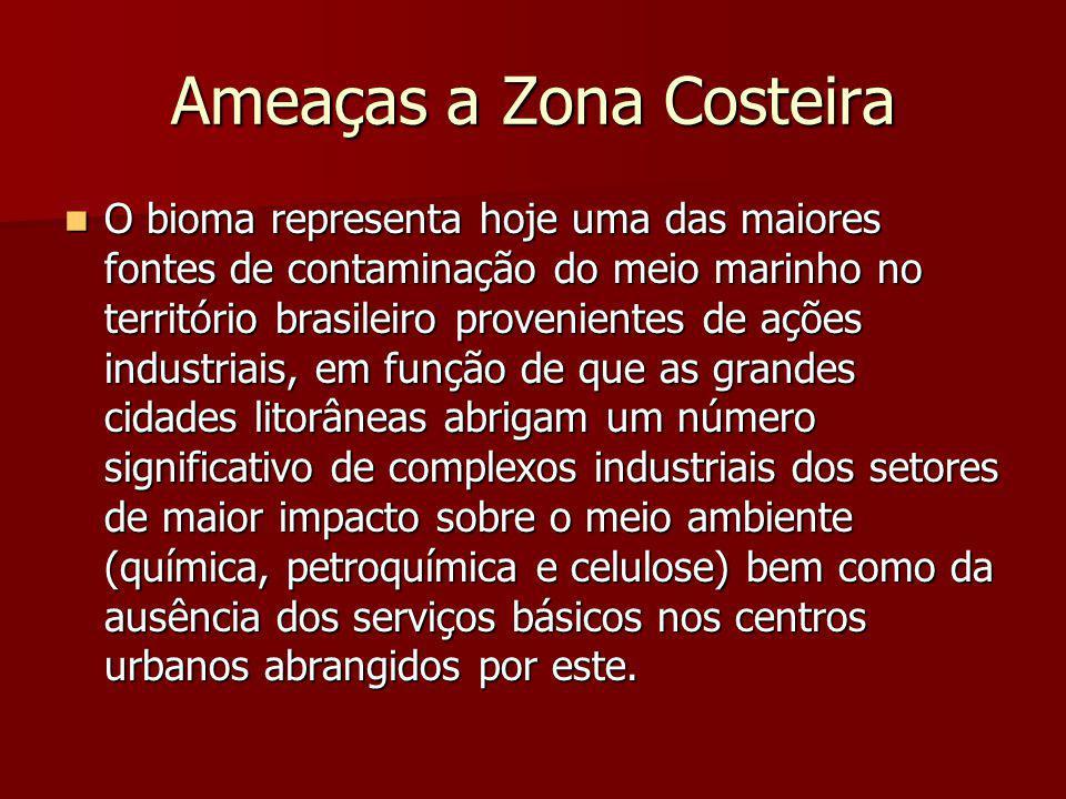 Ameaças a Zona Costeira O bioma representa hoje uma das maiores fontes de contaminação do meio marinho no território brasileiro provenientes de ações