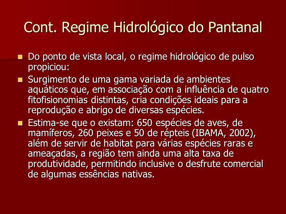 Cont. Regime Hidrológico do Pantanal Do ponto de vista local, o regime hidrológico de pulso propiciou: Do ponto de vista local, o regime hidrológico d
