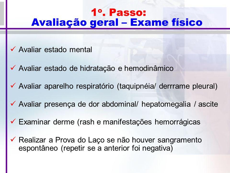 1 o.Passo: Avaliação geral – Exames Laboratoriais Hemograma e contagem de plaquetas na 1a.