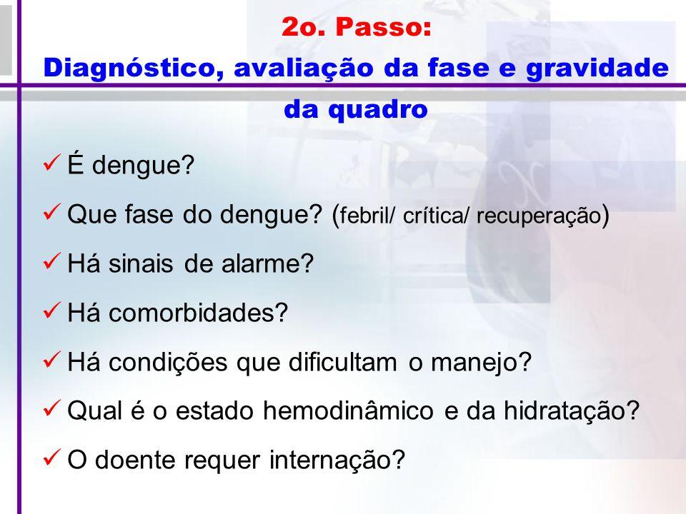 2o.Passo: Diagnóstico, avaliação da fase e gravidade da quadro É dengue.