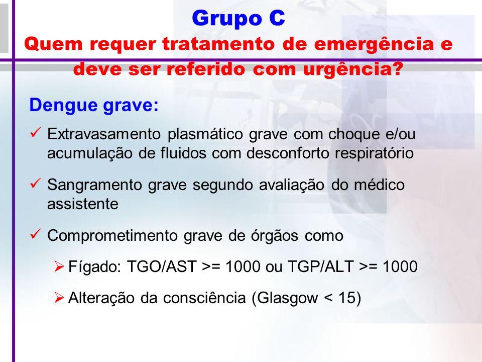 Grupo C Quem requer tratamento de emergência e deve ser referido com urgência.