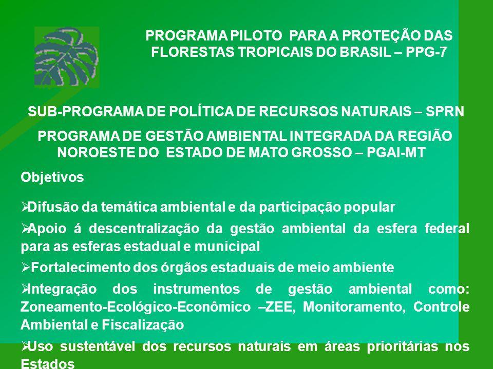 PROGRAMA PILOTO PARA A PROTEÇÃO DAS FLORESTAS TROPICAIS DO BRASIL – PPG-7 Objetivo APOIAR UM CONJUNTO DE PROJETOS PARA PROTEGER A BIODIVERSIDADE, PROMOVER O USO SUSTENTÁVEL DOS RECURSOS FLORESTAIS E REDUZIR AS EMISSÕES DE CARBONO NA AMAZÔNIA.