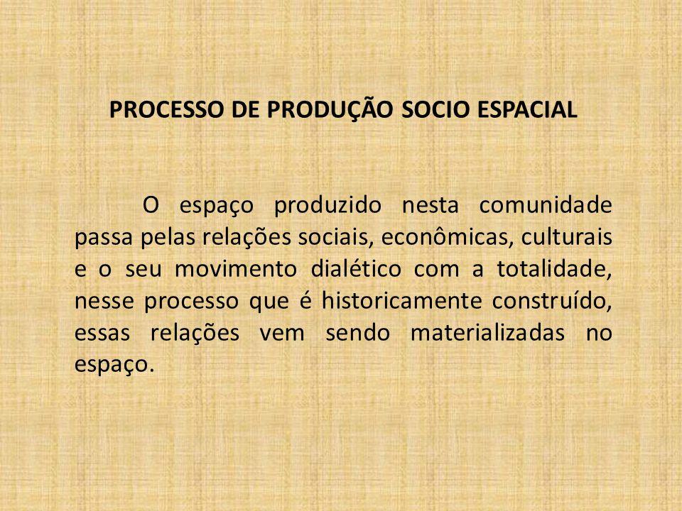 PROCESSO DE PRODUÇÃO SOCIO ESPACIAL O espaço produzido nesta comunidade passa pelas relações sociais, econômicas, culturais e o seu movimento dialétic