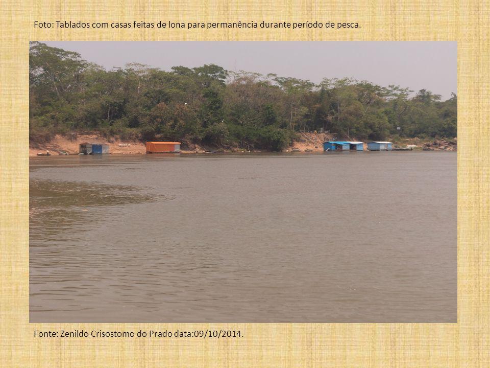 Foto: Tablados com casas feitas de lona para permanência durante período de pesca. Fonte: Zenildo Crisostomo do Prado data:09/10/2014.