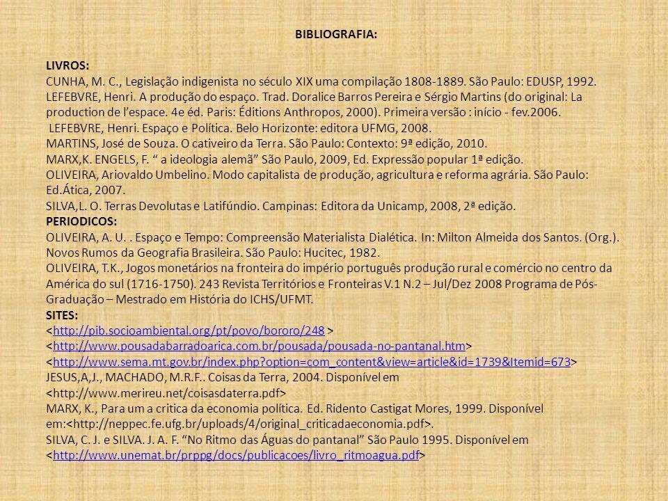 BIBLIOGRAFIA: LIVROS: CUNHA, M. C., Legislação indigenista no século XIX uma compilação 1808-1889. São Paulo: EDUSP, 1992. LEFEBVRE, Henri. A produção
