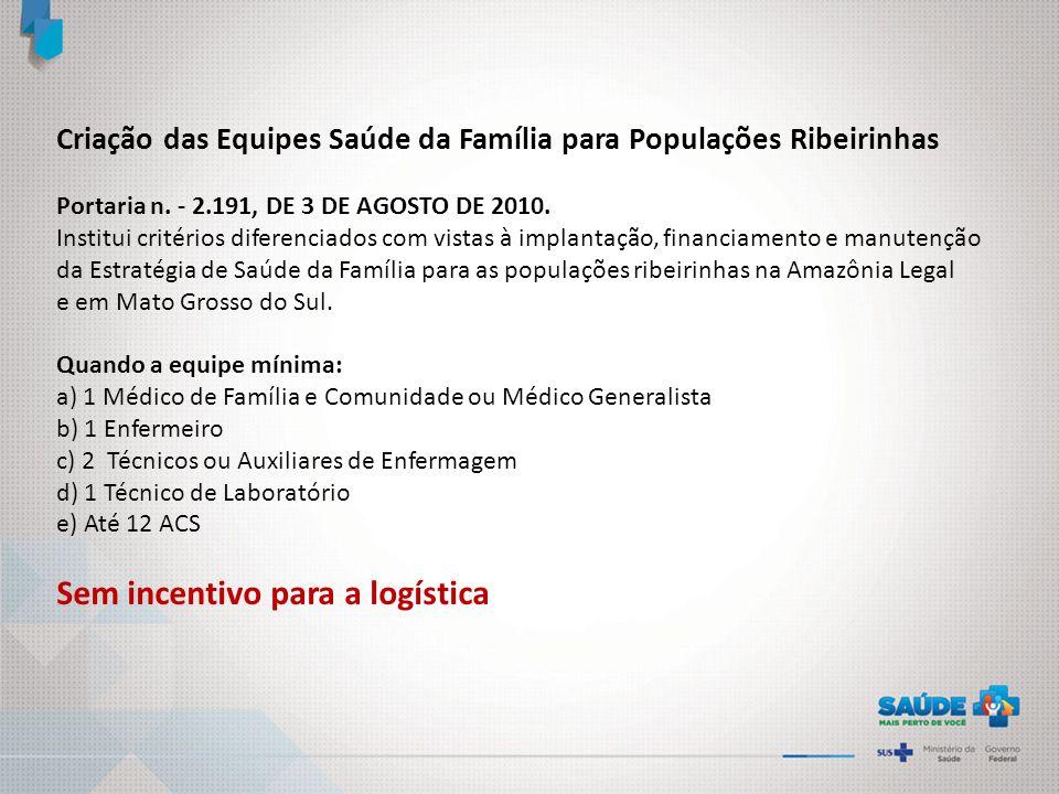 Criação das Equipes Saúde da Família para Populações Ribeirinhas Portaria n. - 2.191, DE 3 DE AGOSTO DE 2010. Institui critérios diferenciados com vis