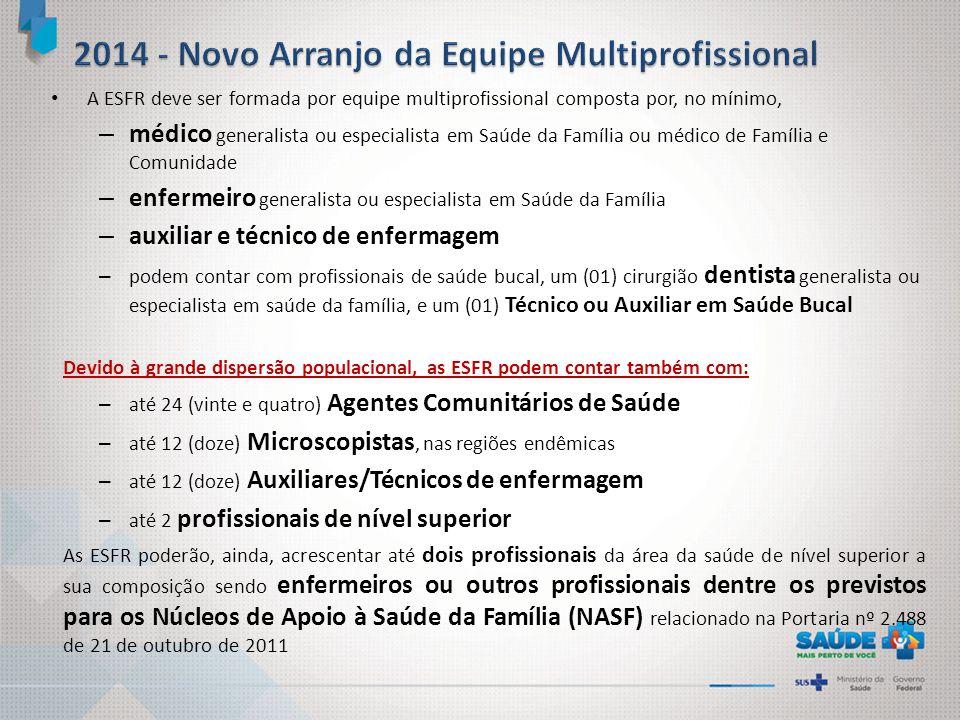 A ESFR deve ser formada por equipe multiprofissional composta por, no mínimo, – médico generalista ou especialista em Saúde da Família ou médico de Fa