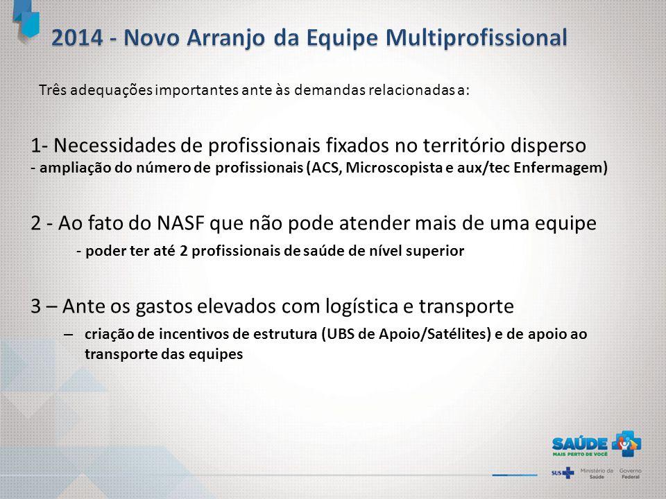 Três adequações importantes ante às demandas relacionadas a: 1- Necessidades de profissionais fixados no território disperso - ampliação do número de