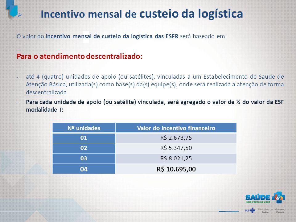  Incentivo mensal de custeio da logística O valor do incentivo mensal de custeio da logística das ESFR será baseado em: Para o atendimento descentral