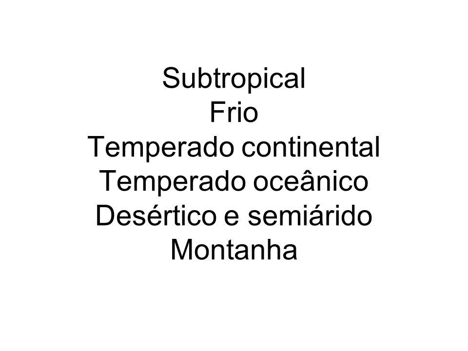 Subtropical Frio Temperado continental Temperado oceânico Desértico e semiárido Montanha