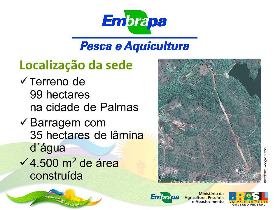Localização da sede T erreno de 99 hectares na cidade de Palmas Barragem com 35 hectares de lâmina d´água 4.500 m 2 de área construída Imagem: Google Maps