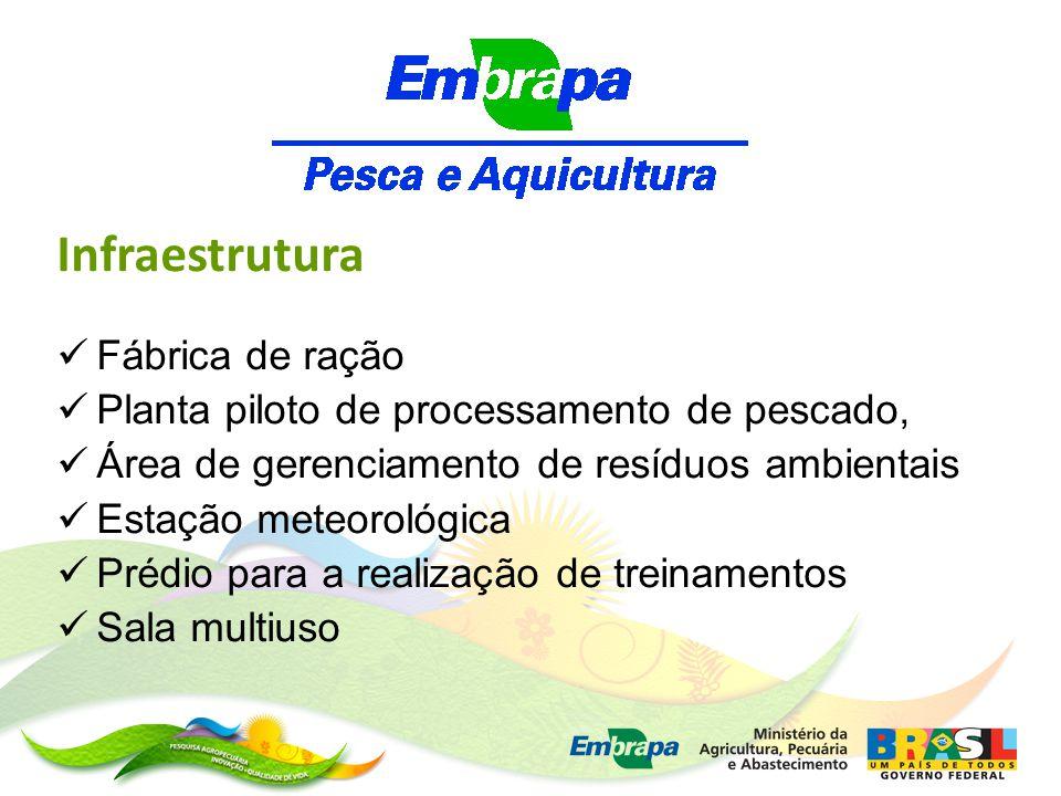 . Infraestrutura Fábrica de ração Planta piloto de processamento de pescado, Área de gerenciamento de resíduos ambientais Estação meteorológica Prédio para a realização de treinamentos Sala multiuso