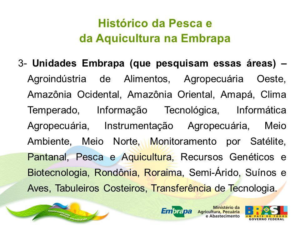 3- Unidades Embrapa (que pesquisam essas áreas) – Agroindústria de Alimentos, Agropecuária Oeste, Amazônia Ocidental, Amazônia Oriental, Amapá, Clima Temperado, Informação Tecnológica, Informática Agropecuária, Instrumentação Agropecuária, Meio Ambiente, Meio Norte, Monitoramento por Satélite, Pantanal, Pesca e Aquicultura, Recursos Genéticos e Biotecnologia, Rondônia, Roraima, Semi-Árido, Suínos e Aves, Tabuleiros Costeiros, Transferência de Tecnologia.