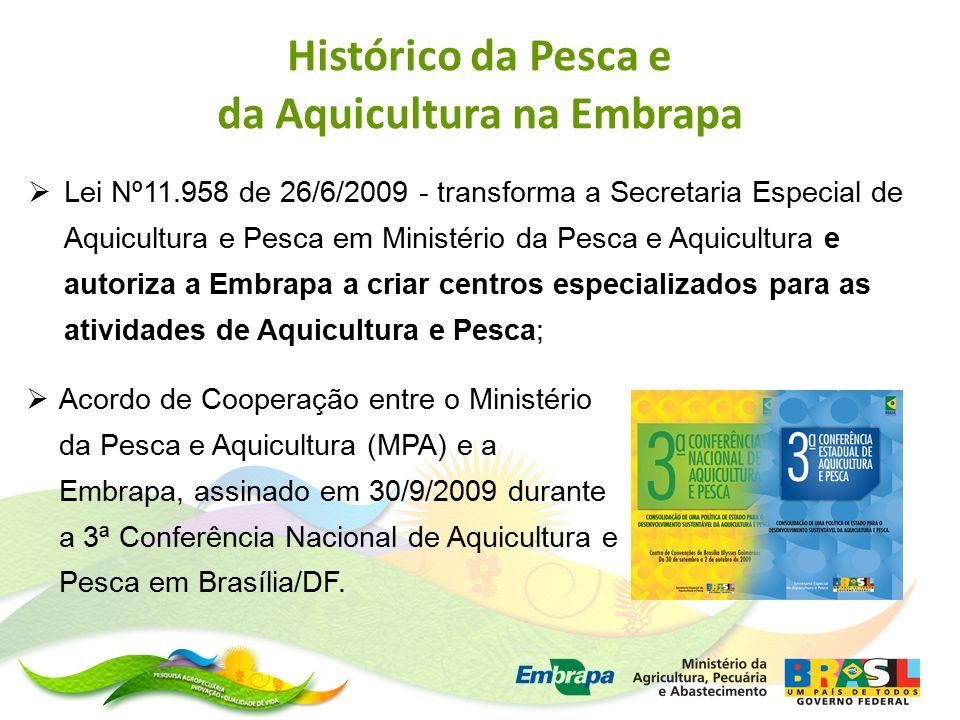  Lei Nº11.958 de 26/6/2009 - transforma a Secretaria Especial de Aquicultura e Pesca em Ministério da Pesca e Aquicultura e autoriza a Embrapa a criar centros especializados para as atividades de Aquicultura e Pesca;  Acordo de Cooperação entre o Ministério da Pesca e Aquicultura (MPA) e a Embrapa, assinado em 30/9/2009 durante a 3ª Conferência Nacional de Aquicultura e Pesca em Brasília/DF.