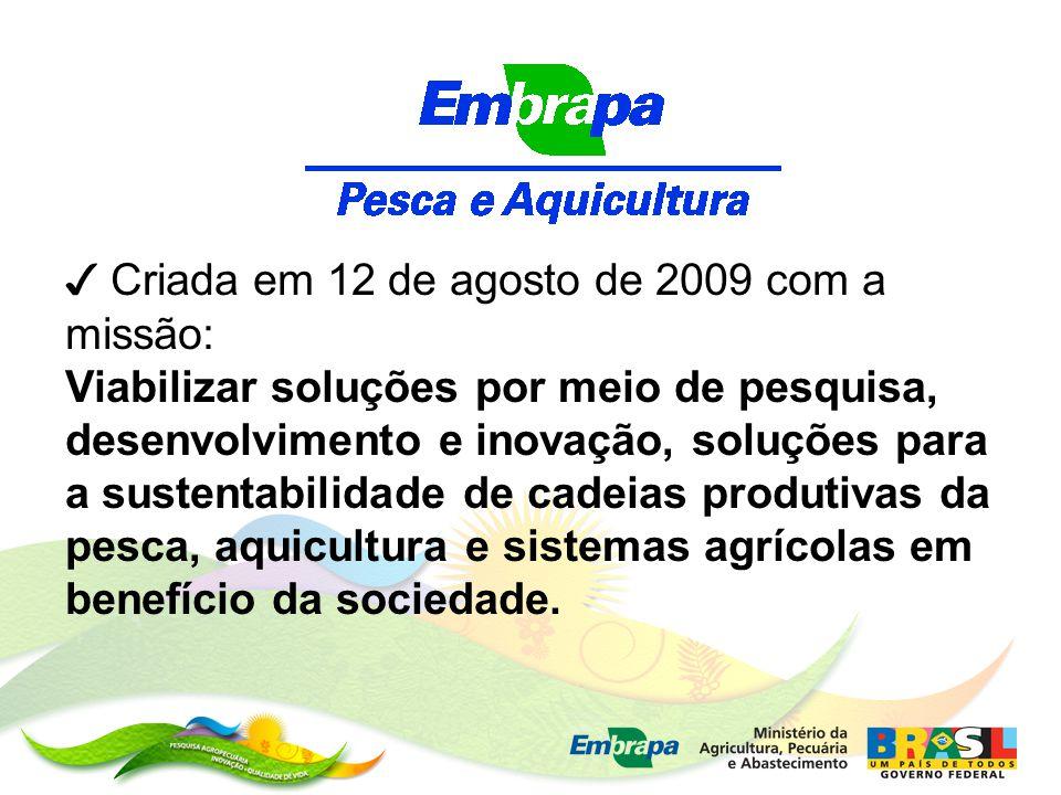 ✓ Criada em 12 de agosto de 2009 com a missão: Viabilizar soluções por meio de pesquisa, desenvolvimento e inovação, soluções para a sustentabilidade de cadeias produtivas da pesca, aquicultura e sistemas agrícolas em benefício da sociedade.