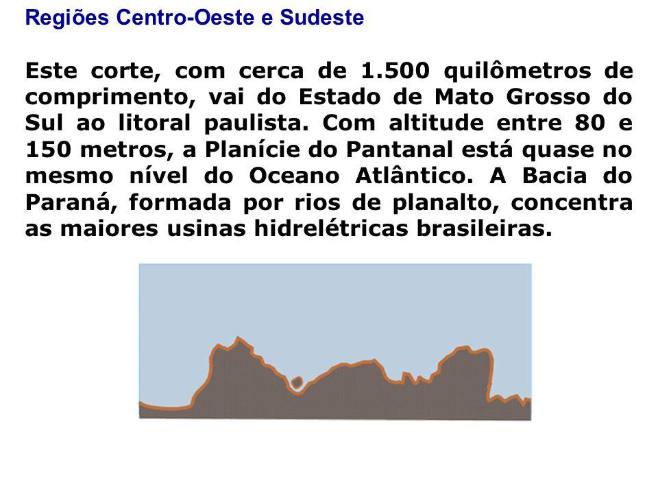 Regiões Centro-Oeste e Sudeste Este corte, com cerca de 1.500 quilômetros de comprimento, vai do Estado de Mato Grosso do Sul ao litoral paulista.