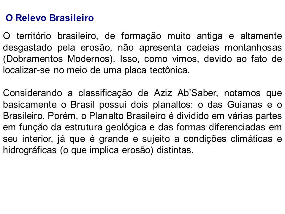 O Relevo Brasileiro O território brasileiro, de formação muito antiga e altamente desgastado pela erosão, não apresenta cadeias montanhosas (Dobrament