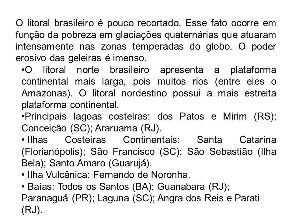 O litoral brasileiro é pouco recortado. Esse fato ocorre em função da pobreza em glaciações quaternárias que atuaram intensamente nas zonas temperadas