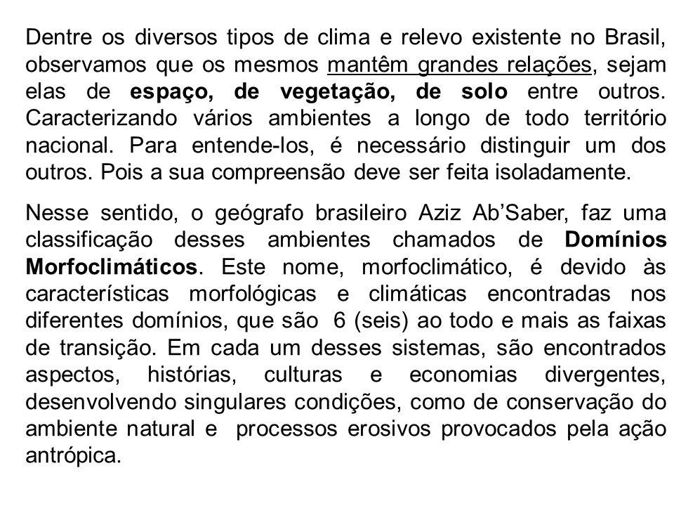 Dentre os diversos tipos de clima e relevo existente no Brasil, observamos que os mesmos mantêm grandes relações, sejam elas de espaço, de vegetação, de solo entre outros.