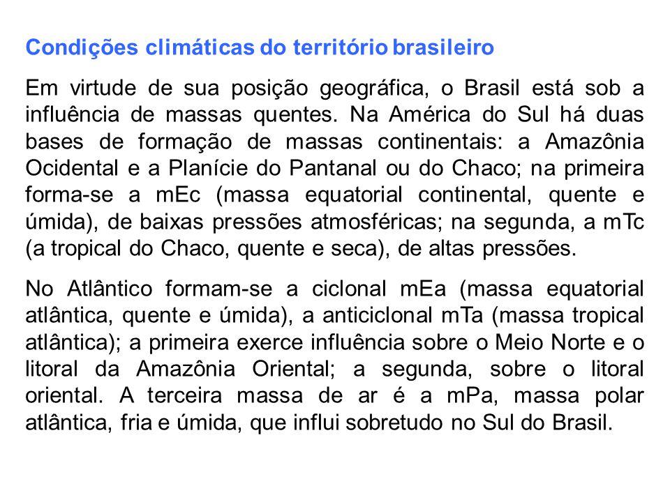 Condições climáticas do território brasileiro Em virtude de sua posição geográfica, o Brasil está sob a influência de massas quentes. Na América do Su