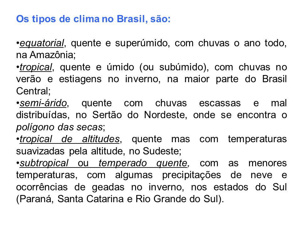 Os tipos de clima no Brasil, são: equatorial, quente e superúmido, com chuvas o ano todo, na Amazônia; tropical, quente e úmido (ou subúmido), com chu