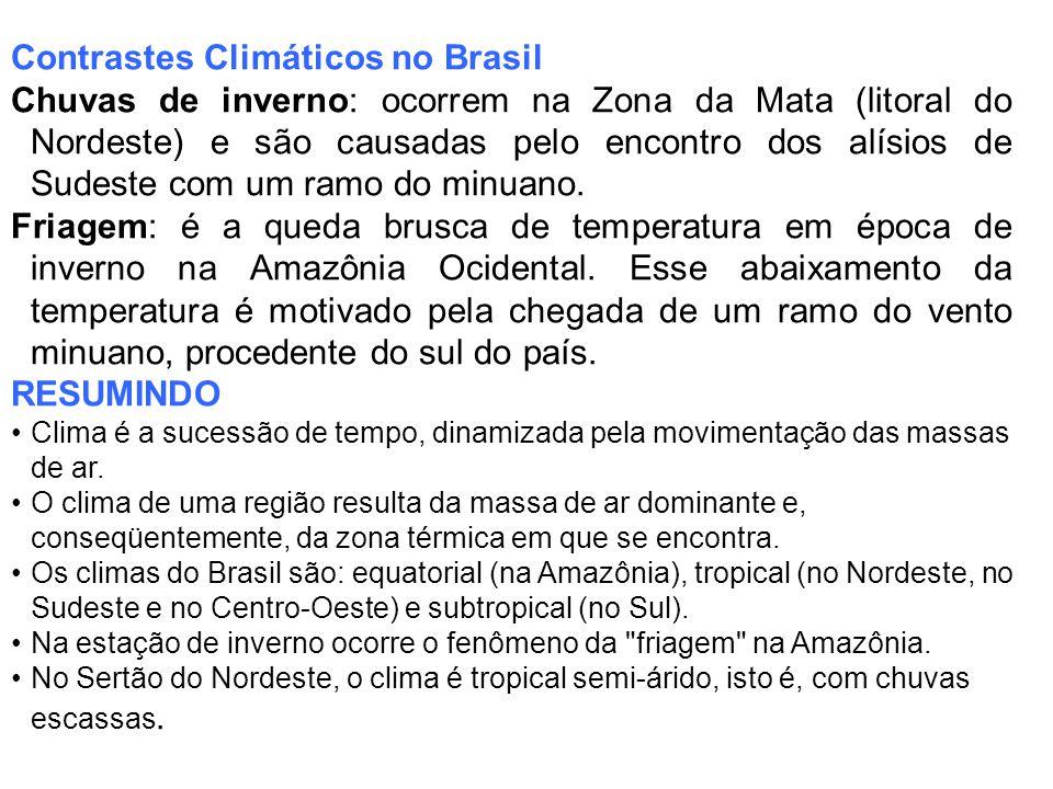 Contrastes Climáticos no Brasil Chuvas de inverno: ocorrem na Zona da Mata (litoral do Nordeste) e são causadas pelo encontro dos alísios de Sudeste com um ramo do minuano.