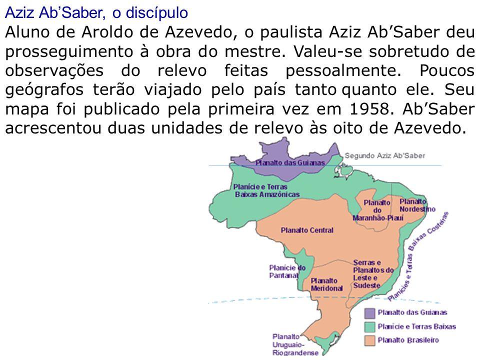 Aziz Ab'Saber, o discípulo Aluno de Aroldo de Azevedo, o paulista Aziz Ab'Saber deu prosseguimento à obra do mestre. Valeu-se sobretudo de observações
