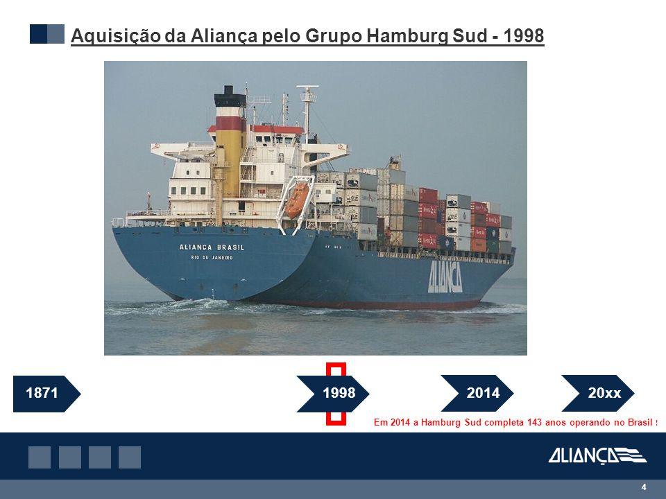 Aquisição da Aliança pelo Grupo Hamburg Sud - 1998 4 1871 1998 2014 Em 2014 a Hamburg Sud completa 143 anos operando no Brasil .