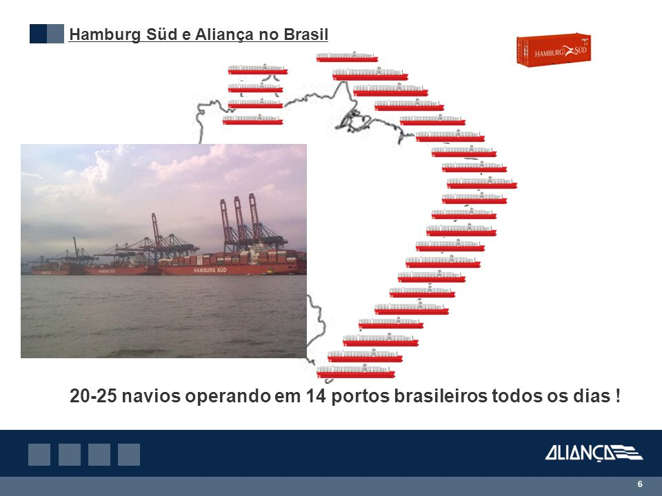 6 Hamburg Süd e Aliança no Brasil 20-25 navios operando em 14 portos brasileiros todos os dias !