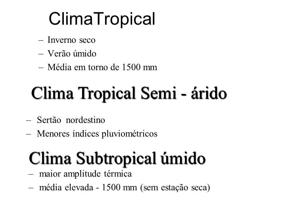 ClimaTropical –Inverno seco –Verão úmido –Média em torno de 1500 mm Clima Tropical Semi - árido –Sertão nordestino –Menores índices pluviométricos Cli