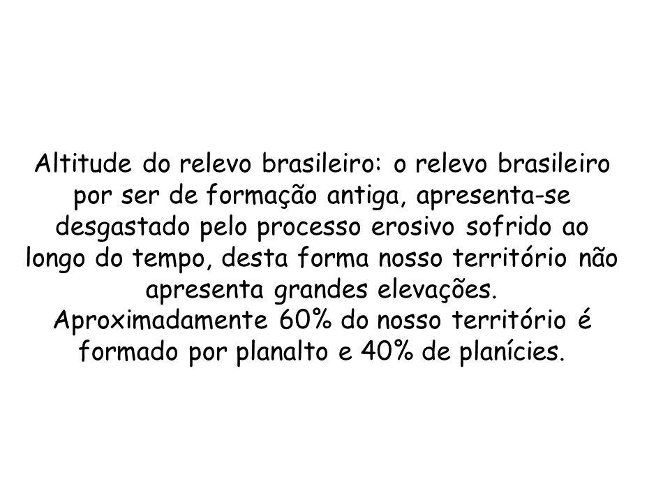 Altitude do relevo brasileiro: o relevo brasileiro por ser de formação antiga, apresenta-se desgastado pelo processo erosivo sofrido ao longo do tempo