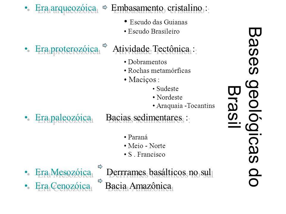 Bases geológicas do Brasil Era arqueozóica Embasamento cristalino : Era proterozóica Atividade Tectônica : Era paleozóica Bacias sedimentares : Era Me