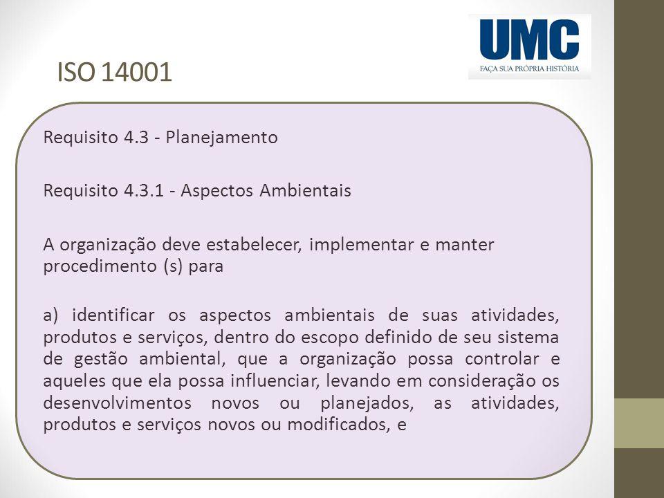 ISO 14001 Requisito 4.3 - Planejamento Requisito 4.3.1 - Aspectos Ambientais A organização deve estabelecer, implementar e manter procedimento (s) par
